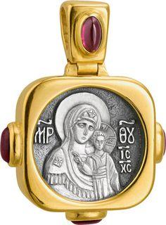 592 Образ Божией Матери «Казанская» серебро 925° с позолотой и камнями