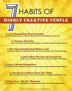 """Steven Covey wrote this book many years ago...and it is still considered a """"must-read!""""  7 Habits of Highly Creative People"""