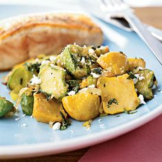 Sautéed Baby Squash with Basil and Feta Recipe - great with summer squash as well