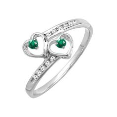 Double Heart Promise Ring Sterling Silver Round Green Emerald & White... ($43) ❤ liked on Polyvore featuring jewelry, rings, sterling silver, green ring, green emerald ring, emerald ring, bridal jewellery and sterling silver jewelry