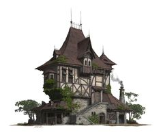 A folk house design and rendering. I upload some steps of this work. hope you like it! fantasy house - setting inspiration for DnD / Pathfinder could be an inn Fantasy City, Fantasy House, Fantasy Places, Detail Architecture, Amazing Architecture, Futuristic Architecture, Classical Architecture, Environment Concept, Environment Design