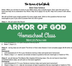 we don't homeschool but I think it would be a great way to lead a summer Bible study for my high school daughter and some of her friends. Class Syllabus, Prayers For Children, Bible Study Tools, My High School, Armor Of God, Kids Church, Bible Lessons, Homeschool, Ephesians 6