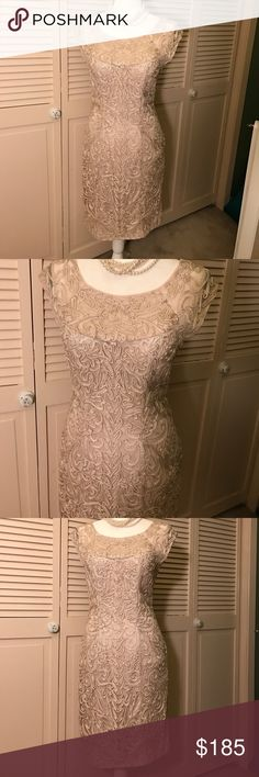 """Sue Wong Cocktail Dress This dress is stunning gorgeous. Beautiful champagne color. Ribbon brocade intricate detail. Bodice is shear with ribbon brocade. The dress is fully lined and has light padded cups if you prefer not to wear a bra. It has a side seam zipper. 17"""" across armhole to armhole. 36"""" in length. Worn one time for a special occasion. Sue Wong Dresses Midi"""