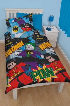 LEGO BRICKS DC COMICS BATMAN DYNAMIC SINGLE DUVET SET QUILT COVER KIDS BEDROOM #Lego
