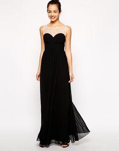 New Look Diamante Mesh Yoke Maxi Dress