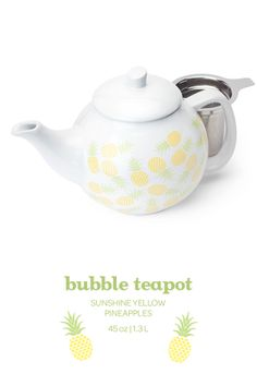 SUMMER 2014 - This classic teapot comes in a fun pineapple print. Central Plaza, Davids Tea, Tea Ideas, Best Tea, Pineapple Print, Summer 2014, Tea Set, Tea Time, Tea Party