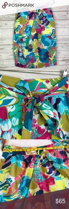 J. crew pencil seaside floral skirt tie lined 12 J. crew pencil seaside floral skirt tie lined J. Crew Skirts Pencil