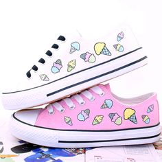 Cute ice cream canvas shoes