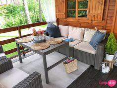Jak urządzić drewniany taras? Moje sposoby na wyjątkowy klimat. - Twoje DIY Bahay Kubo Design, Tiny House Loft, Outdoor Furniture Sets, Outdoor Decor, Cozy Place, House In The Woods, Home Interior Design, Beautiful Homes, House Design