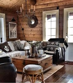 Paredes y pisos, Log Home Interiors, Cottage Interiors, Cabin Homes, Log Homes, Log Cabin Living, Rustic Cabin Decor, Rustic Chic, Log Home Decorating, Cozy House