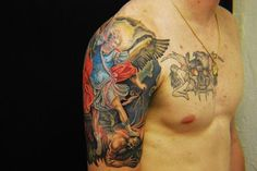 half sleeve tattoo of Michael the archangel | Frank Mcmanus - Reproduction of Guido Renis St Michael painting