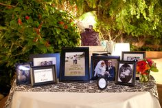 Generations of love...wedding pictures of bride and groom parents, granparents, etc. displayed at wedding