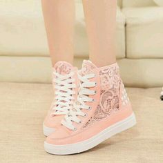 Lace Mesh Rivets High Top Lace Up Platform Sneaker - womens shoes images, fall womens shoes, womens wedding shoes High Top Sneakers, Sneakers Mode, Cute Sneakers, Sneakers Fashion, Fashion Shoes, Shoes Sneakers, Wedge Sneakers, Shoes High Tops, Converse Heels