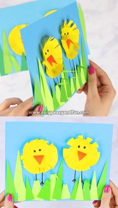 This Paper Circle Easter Chick Craft is a perfect Easter art paper collage to make with your preschool, kindergarten or first grade students. # Easy Crafts kindergarten Paper Circle Easter Chick Craft - Easy Peasy and Fun Easy Easter Crafts, Spring Crafts For Kids, Bunny Crafts, Easter Art, Easter Crafts For Kids, Toddler Crafts, Flower Crafts, Preschool Crafts, Easy Crafts