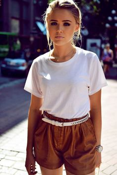 Perfect Casual Street Style Outfit White Top and Camel Shorts