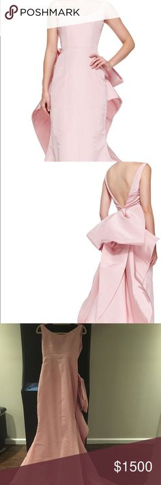 """Oscar de la Renta light pink gown, US size 8/10 Oscar de la Renta solid faille gown with oversized bow on bustle. Retail price $9000. Worn one time, dress is in excellent condition! Some dust on the train from hitting the floor, see pictures. Beautiful light pink color, fits a US size 8/10, height is perfect for a person 5'5"""" or 5'6"""" tall. Scoop neckline, V back. Sleeveless with wide shoulder straps. Mermaid silhouette, back zip.  Measurements: Bust 24"""" High waist 27"""" Length from shoulder to…"""