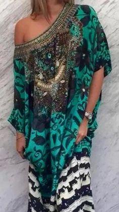 Camilla Franks Swarovski Silk Sacromonte Round Neck Kaftan | eBay