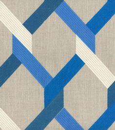 Upholstery Fabric- HGTV Home Posh Embroidery Lapis