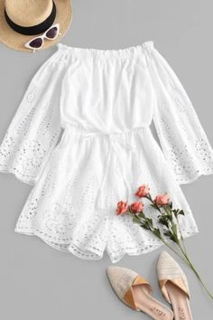 This airy shoulder-flaunting romper covered in pretty embroidery eyelets is fashioned in the on-trend off-the-shoulder silhouette and a tied detail at the elastic waistline to help lengthen the figure. Indian Fashion Dresses, Girls Fashion Clothes, Teen Fashion Outfits, Girl Outfits, Style Fashion, Cute Casual Outfits, Pretty Outfits, Pretty Dresses, Stylish Outfits