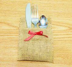 burlap silverware sleeves