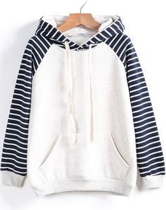 White Contrast Striped Hooded Loose Sweatshirt 15.00