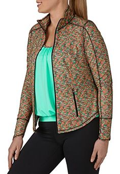Fashion Bug Womens Zip Front Multicolor Spacedye Plus Size Performance #Jacket www.fashionbug.us #PlusSize #FashionBug