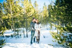Winter Woodland Engagement Session. Bailey, Colorado.
