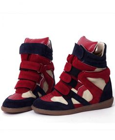 Contrast Velcro Strap High Top Trainers