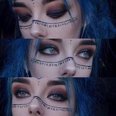 Rune make up ♥ - - Rune make up ♥ - gift # . - Rune make up ♥ – – Rune makeup ♥ – - Makeup Inspo, Makeup Art, Makeup Inspiration, Eye Makeup, Hair Makeup, Makeup Ideas, Cosplay Makeup, Costume Makeup, Viking Makeup