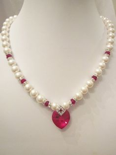 Swarovski Pearl and Crystal Necklace - White Swarovski Pearls and Red Siam Crystal Heart - Weddings, Brides, Bridesmaids Pearl Necklace Designs, Faux Pearl Necklace, Pearl Jewelry, Crystal Necklace, Crystal Beads, Bridal Jewelry, Beaded Necklace, Beaded Bracelets, Picture Necklace
