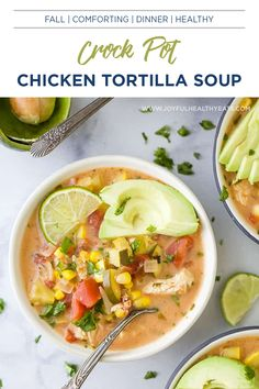 The Ultimate Creamy Crock Pot Chicken Tortilla Soup recipe filled with tex-mex vegetables, avocado, chicken and fresh cilantro. This Creamy Chicken Tortilla Soup is easy to make, delicious and one of my favorite Fall soup recipes! A simple & healthy crockpot meal that everyone will go crazy over! #crockpotchicken #fallrecipes #comfortfood #crockpotmeals #crockpotsoup Crockpot Chicken Healthy, Healthy Crockpot Recipes, Healthy Eating Recipes, Healthy Eats, Fall Recipes, Soup Recipes, Chicken Recipes, Creamy Chicken Tortilla Soup, Avocado Chicken