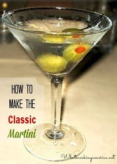 Classic Martini recipe contains gin and vermouth and is garnished with olives or a lemon twist. Gin has always been the more traditional choice, but Vodka martinis have had a huge Bar Drinks, Cocktail Drinks, Cocktail Recipes, Alcoholic Drinks, Booze Drink, Lemonade Cocktail, Fancy Drinks, Vodka Cocktails, Daiquiri