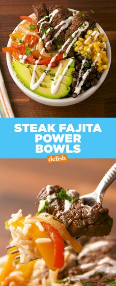 Steak Fajita Power Bowls prove that you don't have to starve on a diet. Get the recipe at Delish.com. #recipe #easyrecipes #steak #fajita #avocado #healthy #healthyfood #corn #peppers #onions #sourcream #brownrice #dinner
