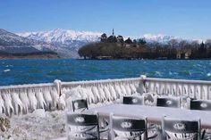 By the Ioannina lake on a snowy day Paradise On Earth, Snowy Day, Greek Islands, Winter Snow, Homeland, Marina Bay Sands, Places Ive Been, In This Moment, Explore