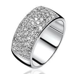 1e gehalte zilveren Zinzi ring bezet met witte zirconia's.zir506