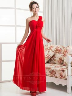 Flower One Shoulder Red Prom Dress 150601tb12