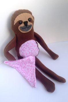 Sloth Blankie Buddy softie toy tutorial, a handmade gift idea by Felt with Love Designs