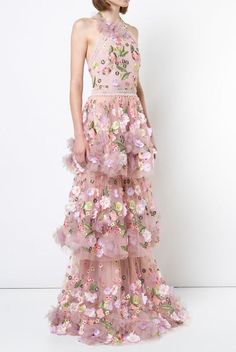 36eb59d295d2 Marchesa Notte N23G0591 Pink Sleeveless 3D Floral Embroidered Evening Gown  | Poshare Floral Gown, Long