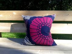 Pillow cover made from Marimekko fabric, pillow case sham, throw pillow cover,  purple Scandinavian cushion