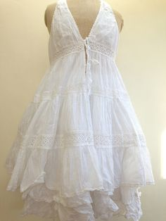 """LOVELY DRESS.  WHITE COTTON AND COTTON LACE""""A"""" SHAPED. LOOK FANTASTIC WITH A """"TINE"""" SKIRT ALSO IN STOCK.MEASUREMENTS:LARGE / CHEST 52 CM LENGTH 98 CM. GENEROUS SIZING."""