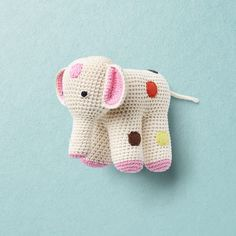 ELEPHANT Sweet hand crochet elephant with multicolour dots made of organic cotton Hand Crochet, Crochet Toys, Crochet Elephant, Claire, Organic Cotton, Baby, Sweet, Dots, Design