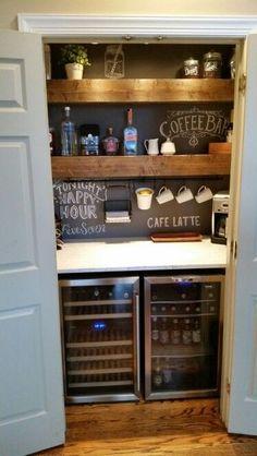 Coffee and liquor closet bar