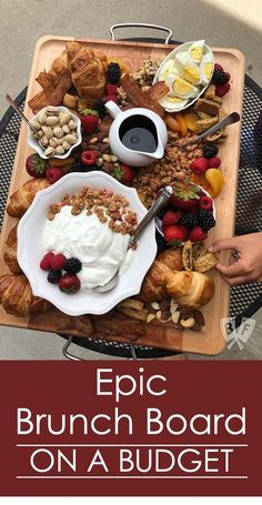 This brunch board is TRULY epic! ( Celebrate all things brunch with an epic … This brunch board is REALLY epic! ( Celebrate brunch with an epic selection of breakfast favorites on a large old board. Your guests will never know that you have a budget! Breakfast Platter, Breakfast Time, Breakfast Recipes, Easy Brunch Recipes, Cute Breakfast Ideas, European Breakfast, Breakfast Picnic, Breakfast Meat, Breakfast Buffet