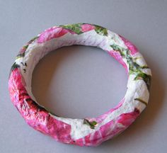 Upcycled BANGLE Gift Under 20 Pink Roses Gift Paper by RecycoolArt, $15.00