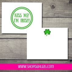 """This stationery is perfect for St. Patrick's Day! $17.00 (for a set of 12 cards and envelopes) Dahlia's exclusive line of note cards are 5.5"""" x 4.25"""" flat note cards. Orders start at sets of 12 note cards and matching envelopes. Our note cards are printed on beautiful, ultra-premium paper that is absolutely perfect for writing letters, thank you notes, and correspondence!"""