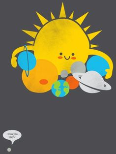 Sun and planets with lonely pluto cartoon