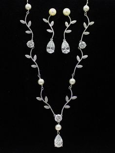 Crystal Bridal Jewelry Set Pearl and Crystal by BeFrostedBridal, $112.00