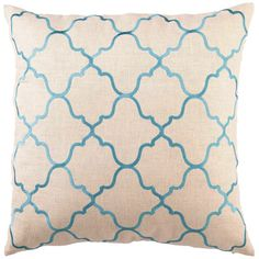 """Inspired by classic Moorish tiles, designer DL Rhein's decorative pillow adds a sophisticated touch to a living space or bedroom. The curvaceous geometric pattern of the Moroccan Tile pillow is embroidered in turquoise on a neutral linen background. Handcrafted linen pillow includes 95/5 feather down insert.  Pillow measures 20"""" x 20""""  Dry clean only"""