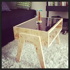 Low OSB & white plexi table by MixWood on Etsy