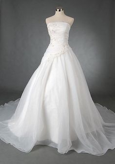 A-line Strapless Sleeveless Cathedral Train Satin Organza Wendding Dress With Embroidery Beading Free Shipping$218.00